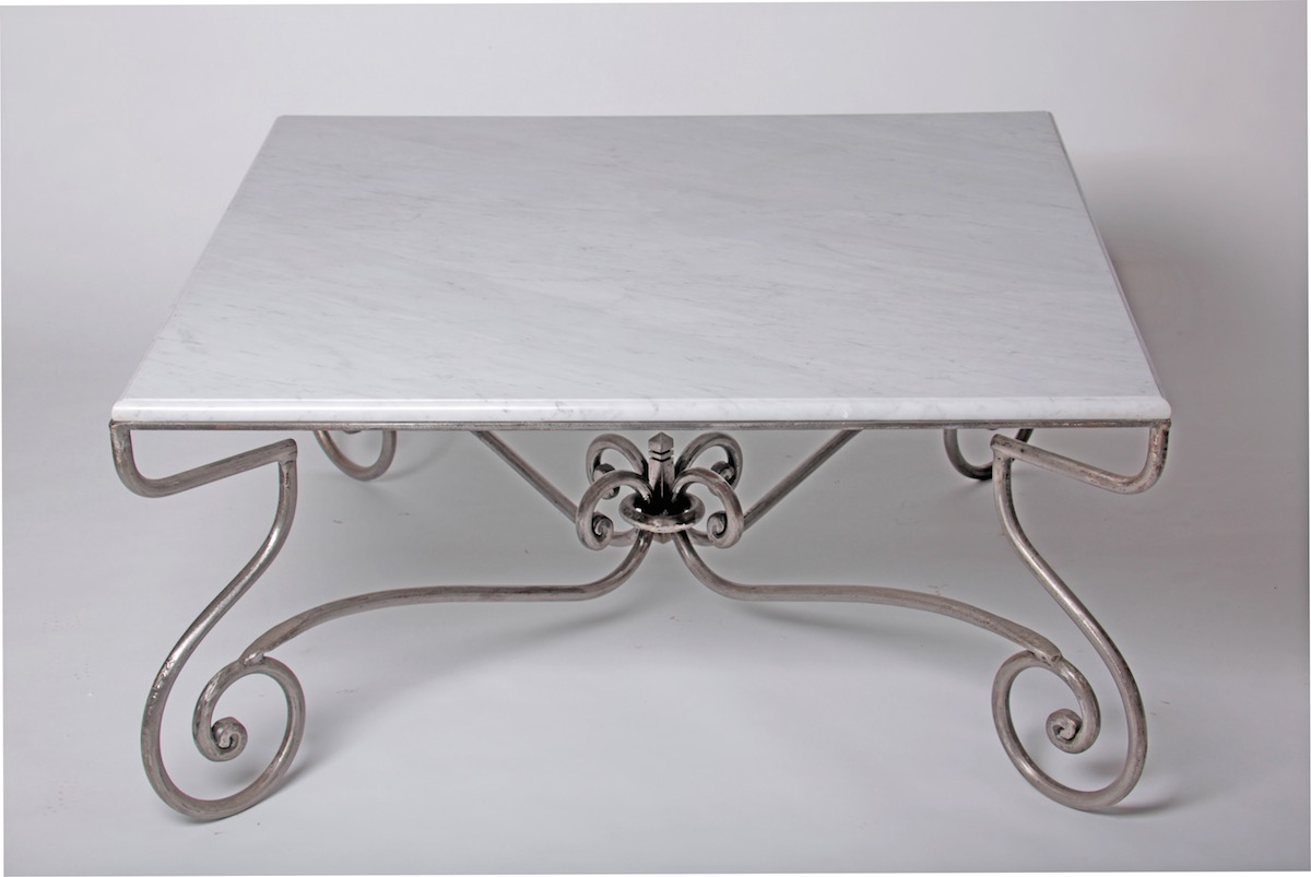 Furniture paris coffee table square hand forged steel for Square wrought iron coffee table