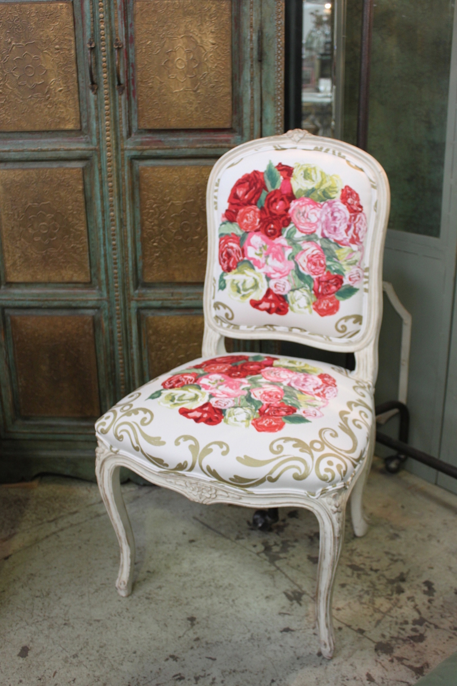 Bedroom French Dining Chair Frame Upholstered In Trisha Guild Fabric