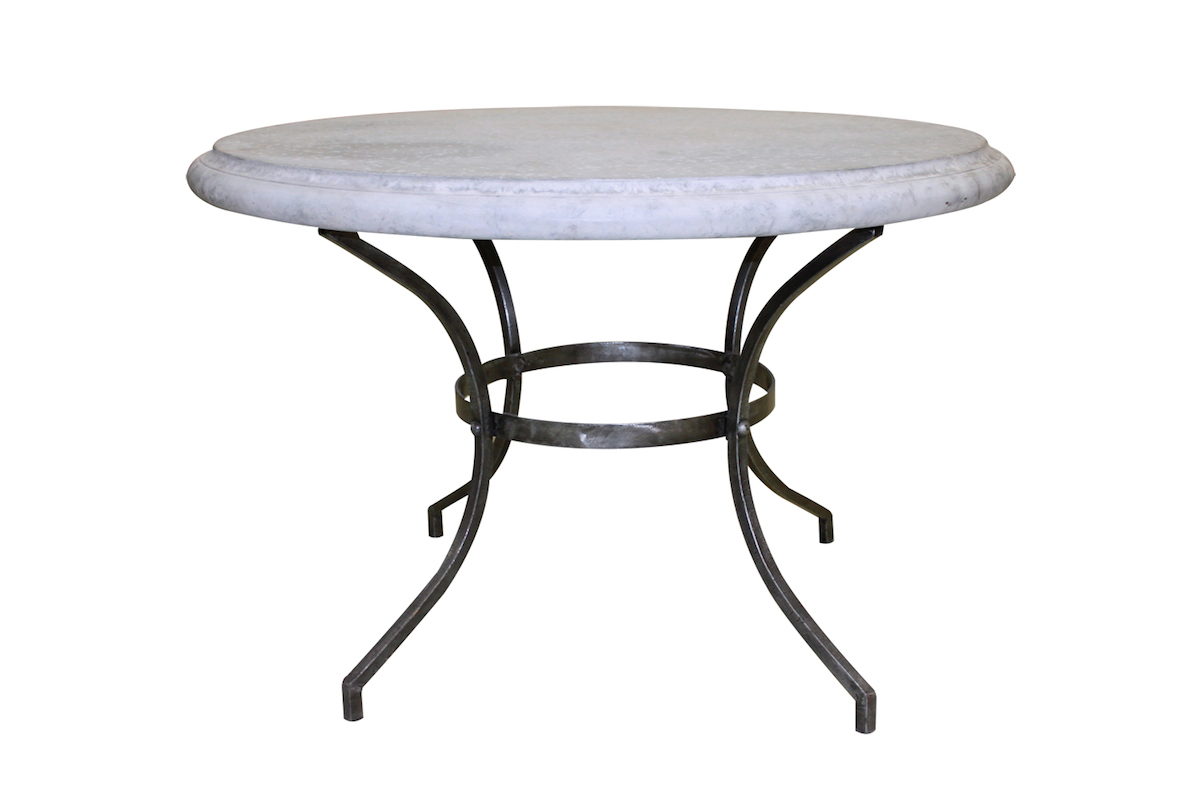 Round Table Outdoor Glass Marble French Le Forge - Tables : *ON SALE - Outdoor Champagne Table Large Hand Forged Steel