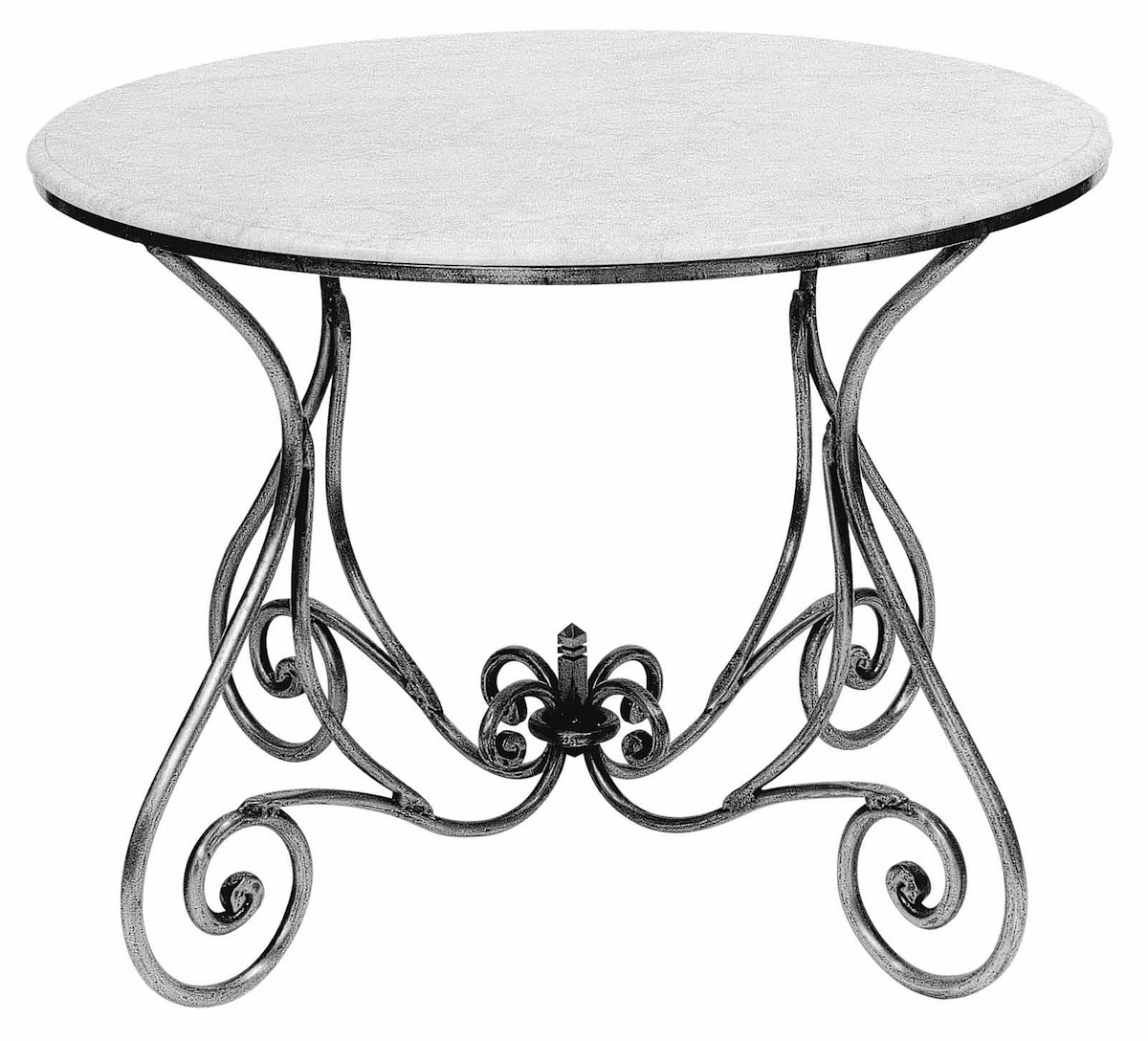 Round Steel Table Marble Zinc Glass Outdoor French Provincial Le Forge