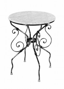Round Steel Table Marble Glass Outdoor Cement French Provincial Le Forge