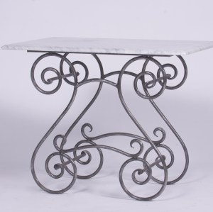 Steel Table Marble Glass Outdoor Cement French Provincial Le Forge