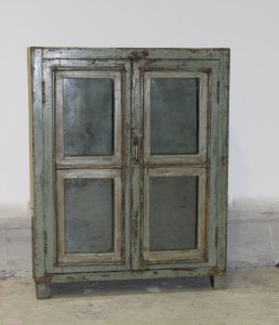 Vintage Destressed Glass Door Display Cabinet Le Forge