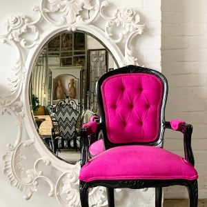 Dorothy-Draper-timber-Louis-Bedroom-Chair-Pink-Black-LeForge-Willoughby-Sydney