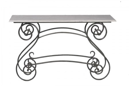 Console Steel Table Marble Glass Outdoor Garden French Provincial Le Forge
