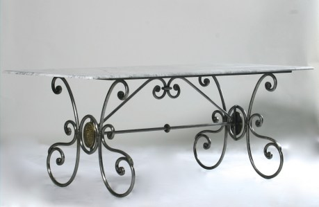 Steel Table Marble Glass Outdoor French Provincial Le Forge