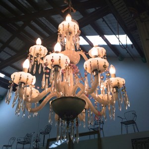 Vintage Milk Glass 10 Arm Chandelier French Provincial Le Forge