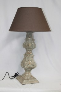 French Wooden Lampbase Shade Distressed Le Forge Bedside