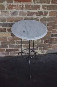 French Sidetable Table Outdoor Galvanised Le Forge Marble Glass