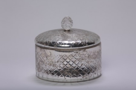 Glass Antiqued Trinket Container French Le Forge