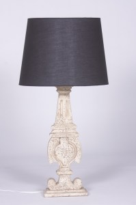 French Wooden Lampbase Shade Distressed Le Forge