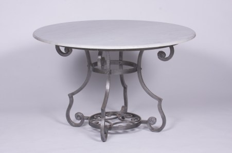 Steel Table Round Outdoor French Glass marble Galvanised Le Forge