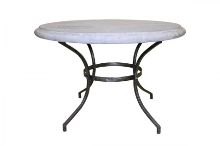 Round Table Outdoor Glass Marble French Le Forge