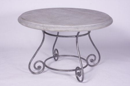 Round Steel Table Marble Glass Outdoor French Provincial Le Forge
