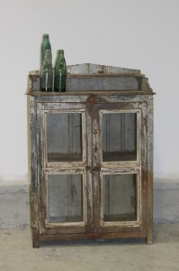 Wooden Cabinet 2 Glass Door Distressed Paint Le Forge